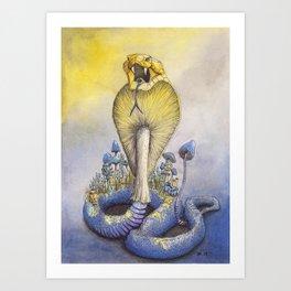 Poisonous - King Cobra and Mushroom Watercolor Illustration Art Print