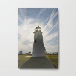 Turkey Point Lighthouse with Sun Flare Coastal Landscape Photograph Metal Print