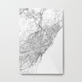 Barcelona White Map Metal Print