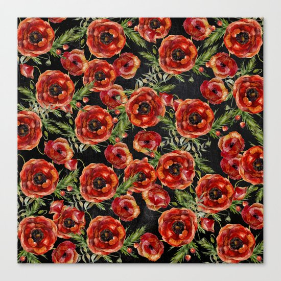 Poppy Pattern On Chalkboard Canvas Print