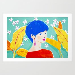 Short Hair Girl in Red Art Print