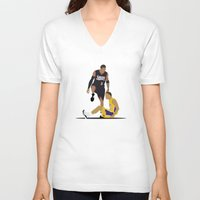 lakers V-neck T-shirts featuring Step Over Lue by Steven Paris
