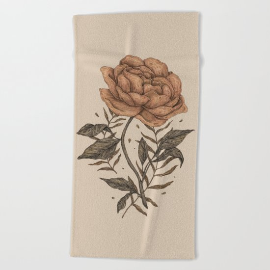 Peony and Ferns Beach Towel