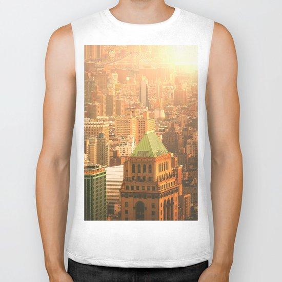 New York City Skyline Rooftops Biker Tank