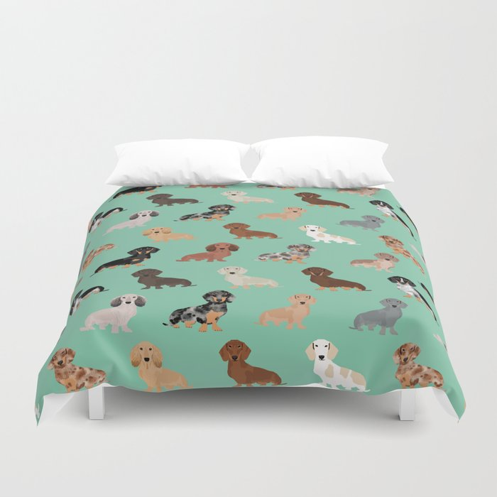 Dachshund dog breed pet pattern doxie coats dapple merle red black and tan Duvet Cover