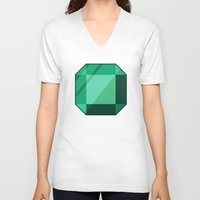 emerald V-neck T-shirts featuring Emerald by creativeesc