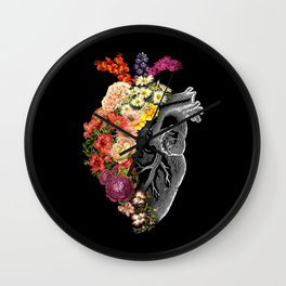 Flower Heart Spring Wall Clock