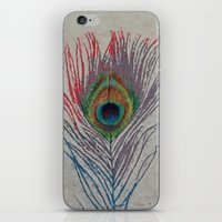peacock feather iPhone & iPod Skins featuring Peacock Feather by Michael Creese