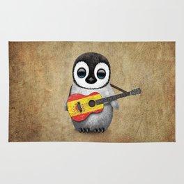 Baby Penguin Playing Spanish Flag Guitar Rug