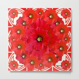 AWESOME RED FLOWERS BOUQUET PATTERN ABSTRACT ART Metal Print