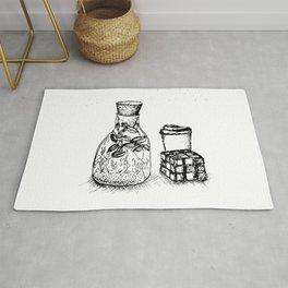 """Plant, Coffee, Rubik's"" Still Life Rug"
