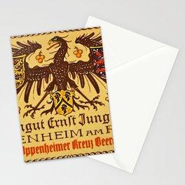 Vintage 1937 Riesling Wine Bottle Label Weingut Ernst Jungkenn Stationery Cards