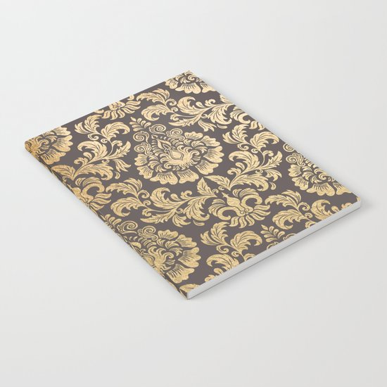 Gold swirls damask #8 Notebook