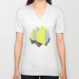 Abstract yellow and gray blocks in 2-point perspective Unisex V-Neck