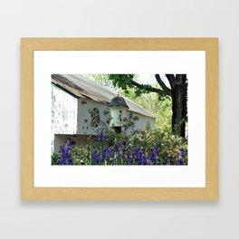 Birdhouse and Barn in Spring Framed Art Print
