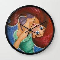 ariel Wall Clocks featuring Ariel by carotoki art and love