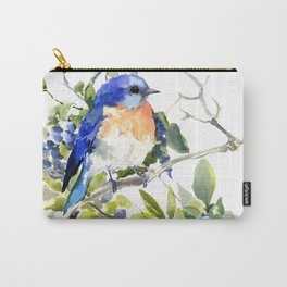 Bluebird and Blueberry Carry-All Pouch