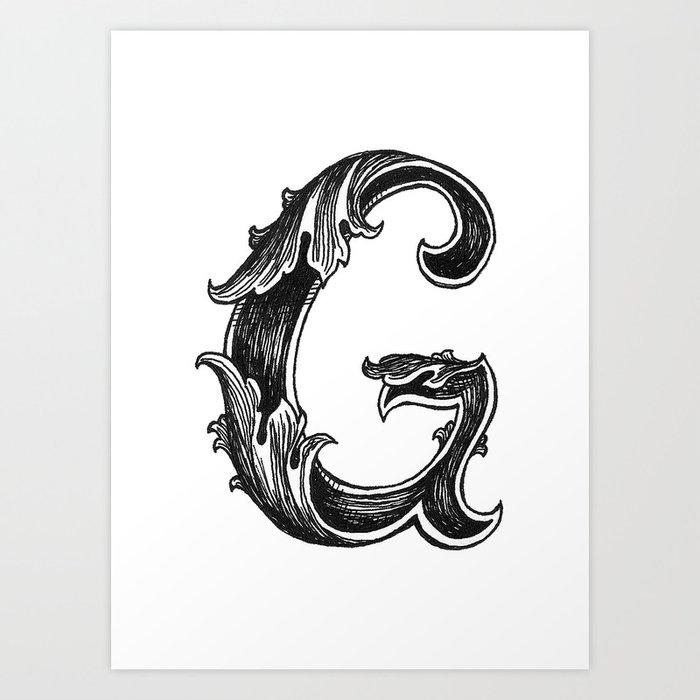 Leaf script g art print by hannahscully society6 Script art