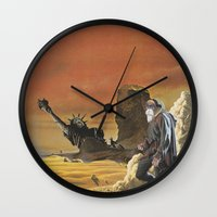 spawn Wall Clocks featuring Beware the beast Man, for he is the Devil's spawn by Michael Tunk