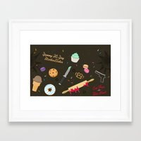 die hard Framed Art Prints featuring Die Hard Desserts by Ashley Hay