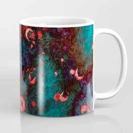 Red Turquoise Textured Abstract Coffee Mug