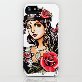 Girl with Butterflies - tattoo iPhone Case