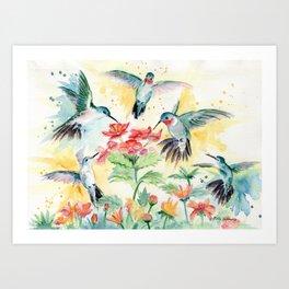 Hummingbird Party Art Print