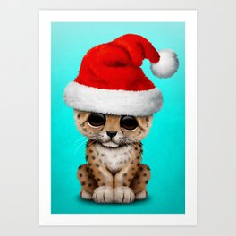 Christmas Leopard Wearing a Santa Hat Art Print