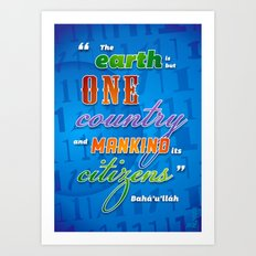 One world quotation Art Print