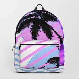 Palm Tree and Vaporwave Dolphin in Aesthetic 80s Glitch Art design Backpack