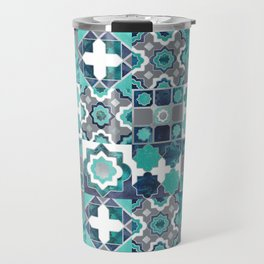 Spanish moroccan tiles inspiration // turquoise green silver lines Travel Mug