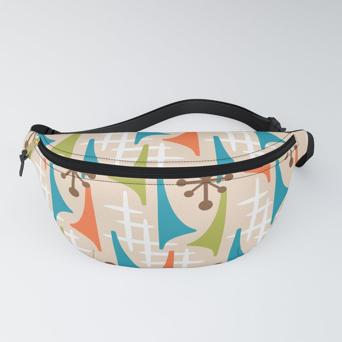 Mid Century Modern Atomic Wing Composition 66 Brown Orange Turquoise and Chartreuse Fanny Pack