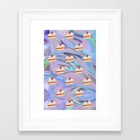 holographic Framed Art Prints featuring Shortcake Emoji Holographic by Andy Paik