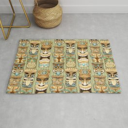 Tropical Hawaiian Deluxe Tiki Party Pattern Rug