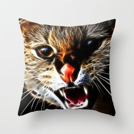 Scared catpainting Throw Pillow