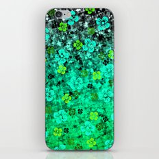 LUCK OF THE IRISH Colorful Emerald Green Ombre St Patricks Day Floral Shamrock Four Leaf Clover Art iPhone Skin