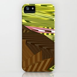 Striped landscap with stylised mountains, sea and red Sun. iPhone Case