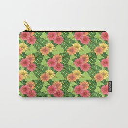 Tropical Floral - Hibiscus and Monstera on Green Carry-All Pouch