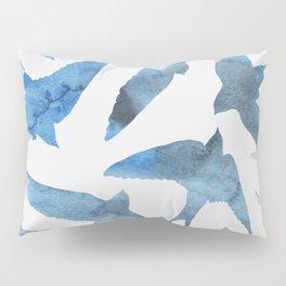 Watercolor birds - sapphire ink Pillow Sham