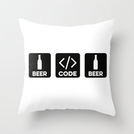 Beer Code Beer Throw Pillow