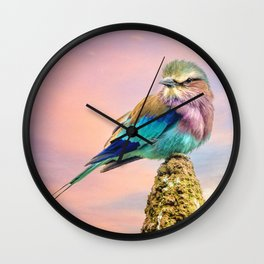 Lilac breasted roller at sunset Wall Clock