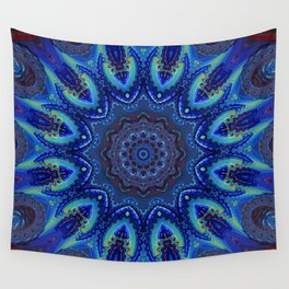Blue Spiral Kaleidoscope Wall Tapestry