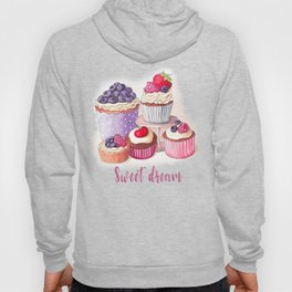 Sweet dream Cute cupcakes with berries Hand-drawn illustration Hoody