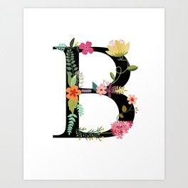 Monogram Floral Letter B Art Print