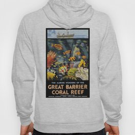 1933 Australia Great Barrier Coral Reef Travel Poster Hoody