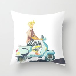 Scooter guy in Ubud Throw Pillow