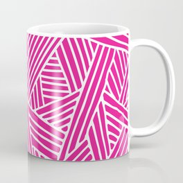 Abstract pink & white Lines and Triangles Pattern - Mix and Match with Simplicity of Life Coffee Mug