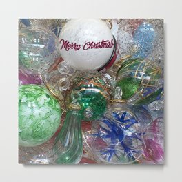 Merry Christmas Murano glass ornaments Metal Print