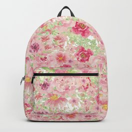 Pastel pink red watercolor hand painted floral Backpack