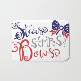 Stars stripes bows.Text inscription slogan. Bath Mat